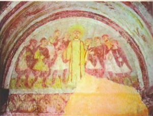 Св. Стефан среди врагов. Фреска церкви Сен-Жермен в Оксерре, IX в