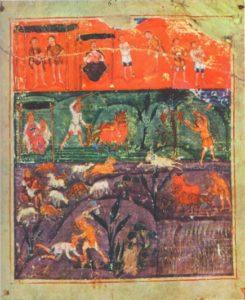 История Адама и Евы. Миниатюра «Пятикнижия Ашбернхема», VII в. Париж, Национальная библиотека