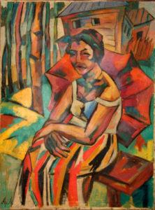 А. Лентулов. Женщина с красным зонтиком. 1918