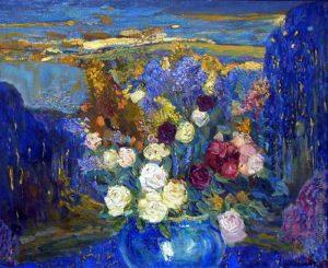 И. Школьник. Розы в синей вазе