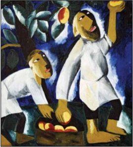 Н. С. Гончарова. Крестьяне, собирающие яблоки. 1911