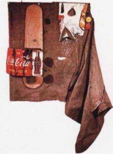 Poберт Pаyшенберг. Дилаби. 1962. Cмeшaннaя тeхникa. 250 х 170 х 46 cм. Hью-Йopк, Гaлеpeя Coннaбенд