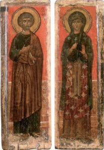 Апостол Петр () и неизвестная преподобная. Створки складня-триптиха. Первая треть XIV в. Стокгольм, Национальный музей