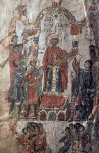 «Давид царь составляет Псалтирь». Миниатюра новгородской Хлудовской Псалтири. Вторая четверть XIV в. ГИМ, Хлуд. 3
