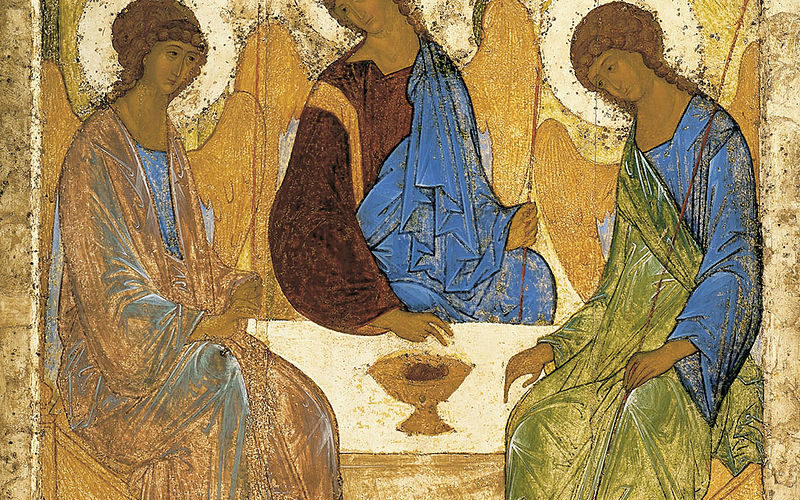 «Троица». Андрей Рублев. Ок. 1411 г. Москва, ГТГ.