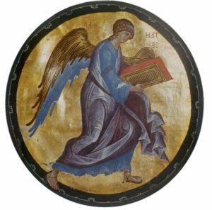 Мастер Даниил (?). Ангел - символ Евангелиста Матфея. Миниатюра Евангелия Хитрово. Около 1400 г. РГБ, ф. 304., Троицк., III, № 3 (М. 8657)
