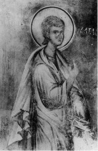 Пророк Захария Серповидец. Фреска церкви Архангела Михаила в Сковородском монастыре, близ Новгорода. Около 1400 г.