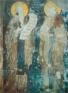 Беседа прп. Варлаама с индийским царевичем Иоасафом. Фреска Успенского собора на Городке в Звенигороде. Ок. 1400 г.