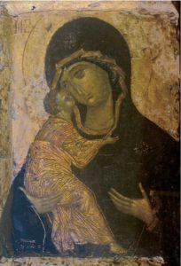 Богоматерь Владимирская. Около 1400 г. Из собрания В.А.Прохорова. ГРМ