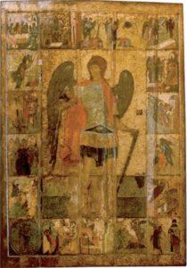 Архангел Михаил, с деяниями. Храмовая икона Архангельского собора Московского Кремля. Около 1399 г.