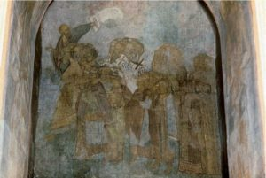 Мастер Даниил. Шествие праведных в Рай. Фреска Успенского собора во Владимире. 1408 г.