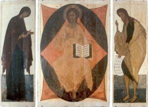 Деисусный чин. Около 1410-1411 гг. Из иконостаса Успенского собора во Владимире. ГТГ