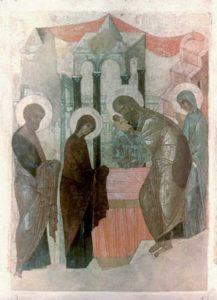 Сретение. Около 1410-1411 гг. Из праздничного ряда Успенского собора во Владимире. ГРМ