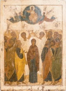 Вознесение. Около 1410--1411 гг. Из праздничного ряда иконостаса Успенского собора во Владимире. ГТГ