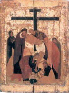 Снятие со Креста. Около 1425 -1427 гг. Из праздничного ряда иконостаса Троицкого собора Троице-Сергиева монастыря
