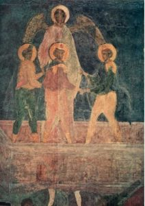 Три отрока в пещи огненной. Конец XV в. Фреска жертвенника Успенского собора Московского Кремля