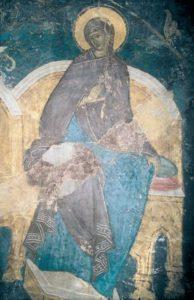 Фигура Богородицы из «Похвалы Богоматери». Конец XV в. Фреска Похвальского придела Успенского собора Московского Кремля