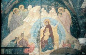 Собор Богоматери. Конец XV в. Фреска Похвальского придела Успенского собора Московского Кремля