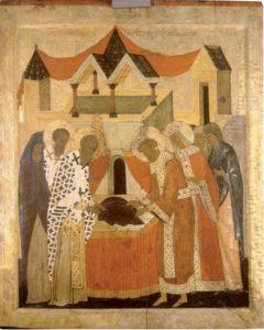 Положение ризы и пояса Богоматери во Влахернах. Около 1485 г. Из Ризположенской церкви села Бородавы. ЦМиАР