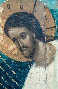 Лик Христа из «Сошествия во ад». Третья четверть XV в. Из праздничного ряда иконостаса Успенской церкви в Волотовом поле близ Новгорода. Новгородский музей