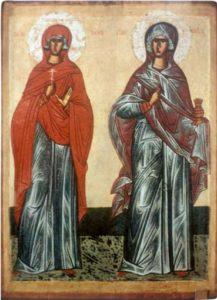 Свв. мученицы Параскева и Анастасия. XV в. Из собрания Н.П.Лихачева. ГРМ