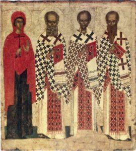 Три святителя и Параскева Пятница. Первая четверть XV в. ГТГ