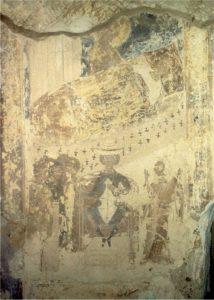 Сказание о явлении Богоматери скомороху. Фреска церкви Успения в Мелетове. 1465 г.