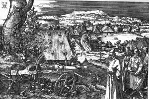 Альбрехт Дюрер. Пейзаж с пушкой. Офорт на меди, 1518