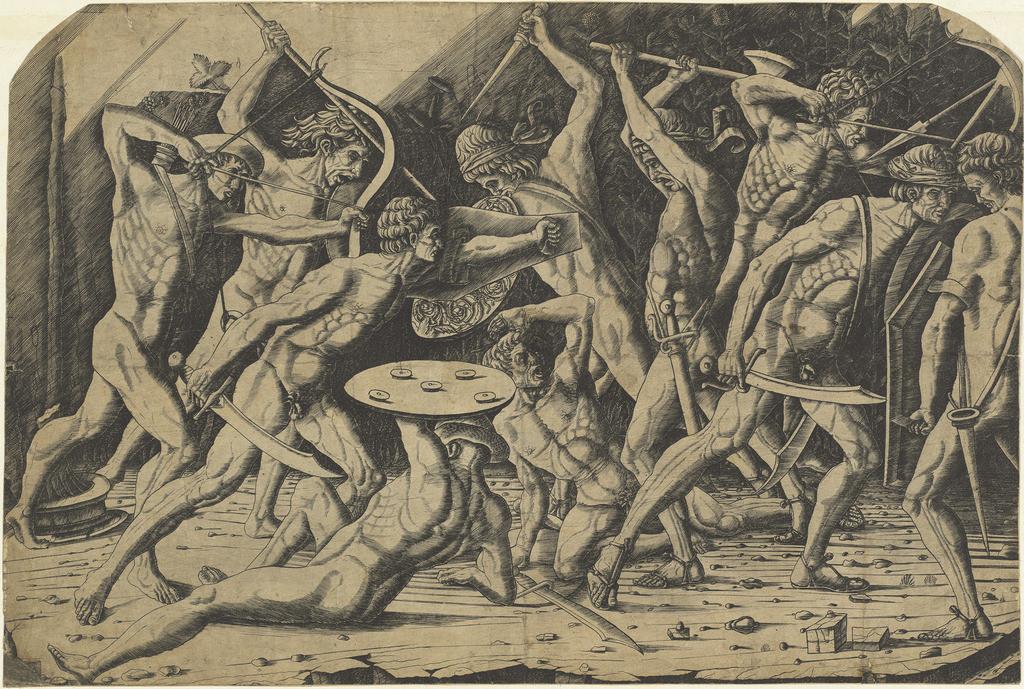 Битва обнаженных мужчин. Поллайоло, Антониo дель. Резцовая гравюра на меди