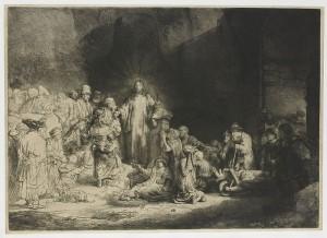 Рембрандт. Проповедь Христа. Офорт, сухая игла, резец, 1648 г.