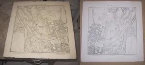 Фотография литографского камня и литографии — карты Мюнхена