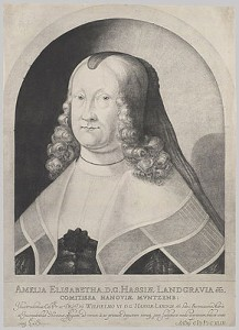 Portrait of Amelie Elisabeth von Hessen, the first known mezzotint, by Ludwig von Siegen, 1642