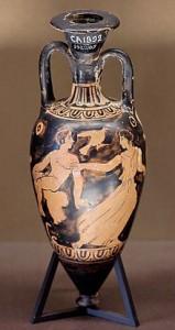 Амфориск с изображением юноши и женщины. Ок. 425—400 гг. до н. э. Лувр