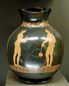 Атлеты со стригилем и арибаллом. Вазописец Пистиччи. V в. до н. э., Лувр