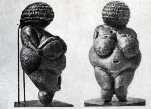 Женская статуэтка из Виллендорфа (Австрия). Известняк. Верхний палеолит, Ориньякское время. Вена. Естественноисторический музей.