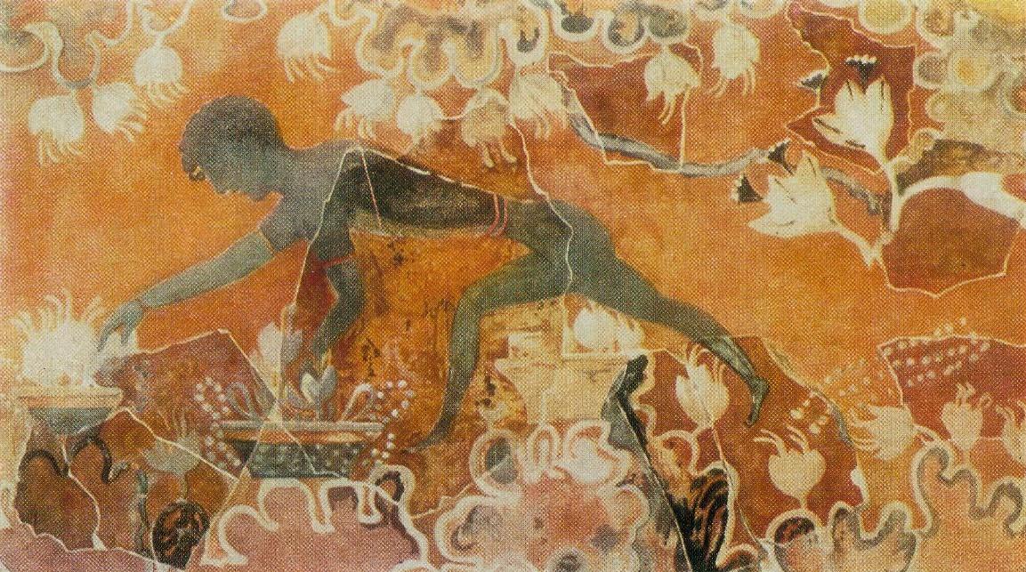 «Собиратель шафрана». Фреска из дворца в Кноссе. XVII в. до н. э.