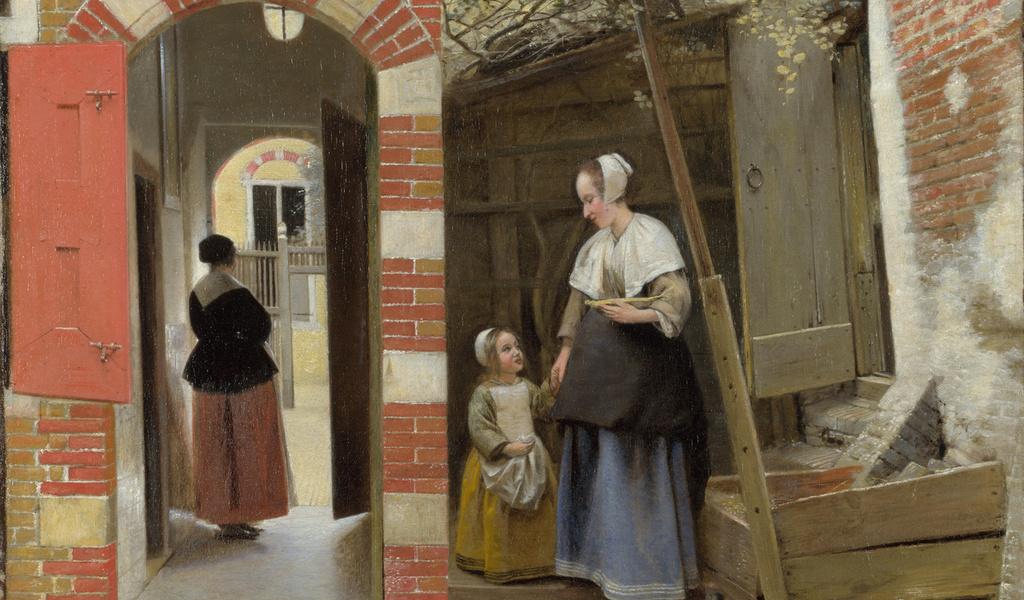 Питер де Хох, двор дома в Делфте, the courtyard of a house in delft, Лондонская Национальная галерея, Pieter de Hooch