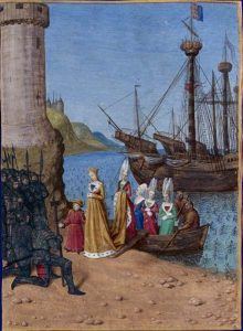 Возвращение Изабеллы, королевы Англии, на родину — во Францию. Миниатюра «Хроник» работы Жана Фуке