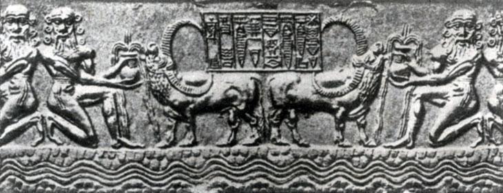 Водопой. Цилиндрическая печать из Аккада. Середина 23 в. до н. э. Собр. де Клерк (Франция).