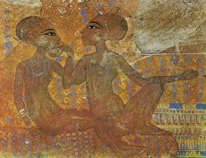 Две принцессы. Фрагмент росписи из дворца Эль-Амарны
