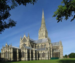 Salisbury Cathedral, Wiltshire, England, in early morning light. The cathedral has the tallest church spire in the UK.