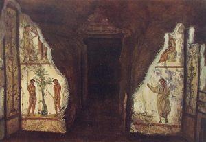 Катакомбы святых Петра и Марцеллина слева — Адам и Ева, справа — Оранта (Иосиф Вильперт, 1903 год).