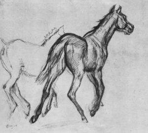 Дега, Эдгар-Жермен-Илер. Две бегущие рысью лошади. Около 1882