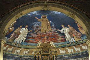 Мозаика «Вознесение Христа» в апсиде церкви Козьмы и Дамиана в Риме