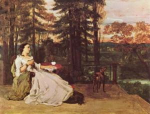 Курбе, Гюстав. Дама на террасе. 1858