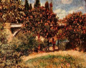 Ренуар, Пьер-Огюст. Железнодорожный мост в Шату (Розовые каштаны). 1881