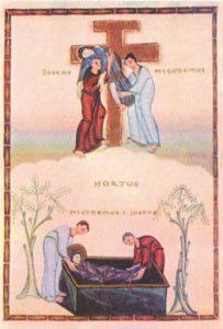 Снятие со креста и Положение во гроб. Миниатюра из Кодекса Эгберта, ок. 985 г.Трир, Городская библиотека