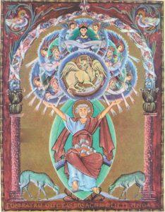 Евангелист Лука. Миниатюраа Евангелария Оттона III. ок.1000 г. Мюнхен. Баварская Государственная библиотека