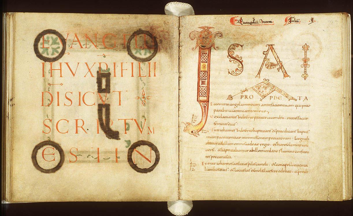 """Fol. 71v and 72r of the Egmond Gospels. The Incipit pages of the gospel of Mark. """"[initium] evangelii Iesu Christi Filii Dei sicut scriptum est in"""" and """"Isaia Propheta Ecce mitto""""."""