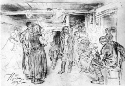 И.Е.Репин. Композицион- ный рисунок к картине «Арест пропагандиста». 1 8 7 9 .